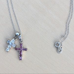 Vintage sterling double cross necklace